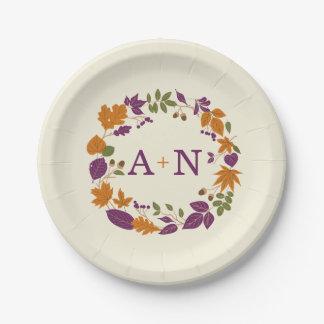 Plum and Pumpkin Fall Wreath Wedding Plates