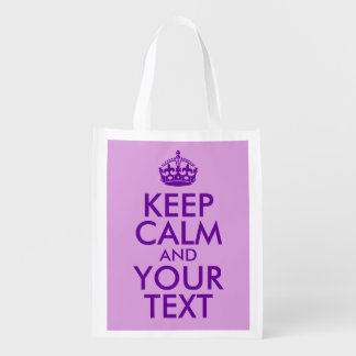 Plum and Purple Keep Calm and Your Text Reusable Grocery Bag