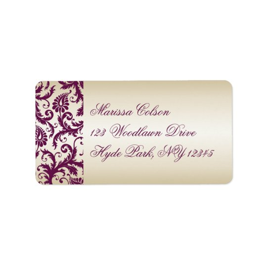 plum and Taupe Damask Address Label