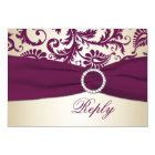 Plum and Taupe Damask with PRINTED Ribbon RSVP Card