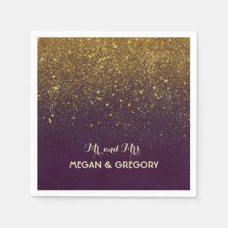 Plum and Vintage Gold Glitter Wedding Disposable Napkin