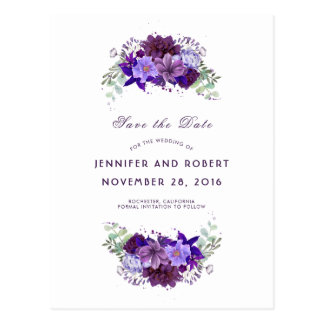 Plum and Violet Purple Wreath Save the Date Postcard