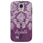 Plum and White Grunge Damask Pattern with Name Samsung Galaxys4 Case