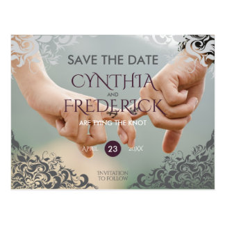 Plum Baroque Chandelier Wedding Save The Date Postcard