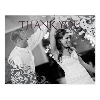 Plum Baroque Chandelier Wedding Thank You Postcard