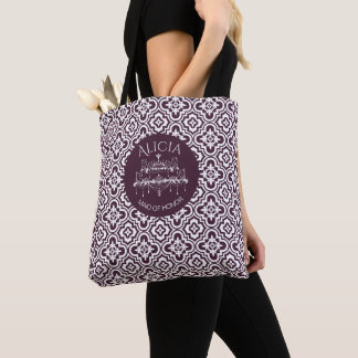 Plum Baroque Chandelier Wedding Tote Bag