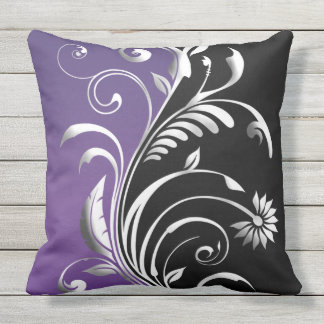 Plum/Black Floral Outdoor Cushion