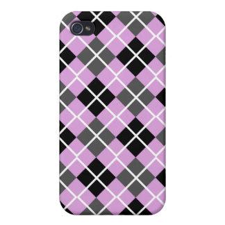 Plum, Black, Grey & White Argyle iPhone 4 Case