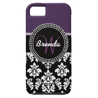 Plum Black White Damask Monogrammed Tough iPhone 5 Case