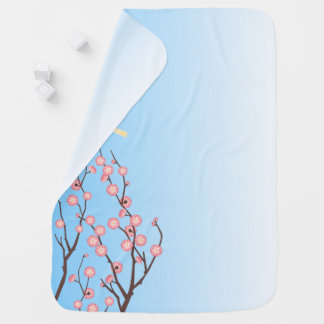 Plum Blossom and Glass Wind Chime on Light Blue Baby Blanket