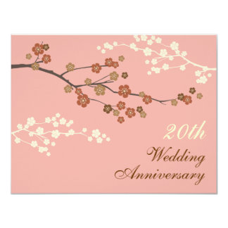 Plum Blossom Anniversary Party Invitation A-Pink