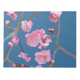 Plum blossom blue notepad