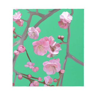 plum blossom mint green notepad