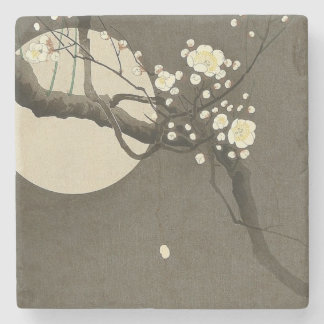 Plum Blossoms at Night by Ohara Koson Elegant Stone Coaster