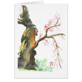 Plum Blossoms, Sumi-e in color Card