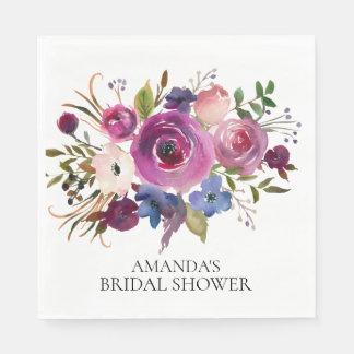 Plum Blue Floral Bridal Shower Paper Napkins Disposable Napkin