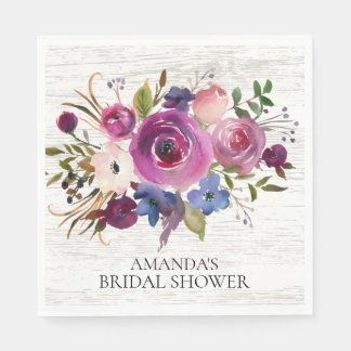 Plum Blue Floral Bridal Shower Paper Napkins Paper Napkin