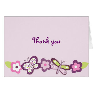 Plum Butterfly Dragonfly Thank You Note Cards