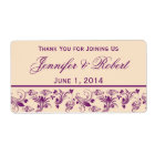 Plum Champagne Floral Scroll Water Bottle Label