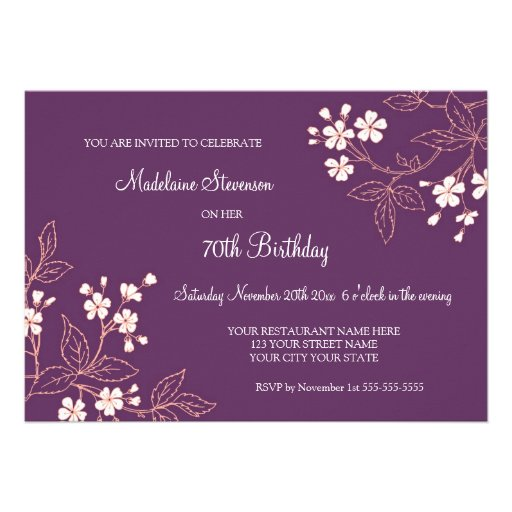 Plum Coral Floral 70th Birthday Party Invitations