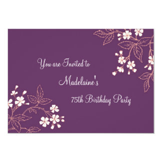 Plum Coral Floral 75th Birthday Party Invitations