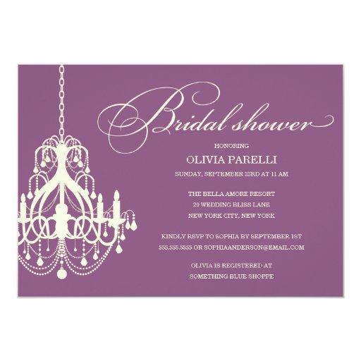 PLUM & CREAM CHANDELIER | BRIDAL SHOWER INVITE 13 CM X 18 CM INVITATION CARD