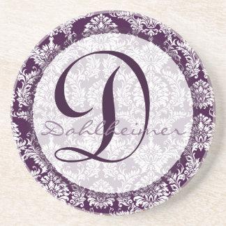 Plum Damask Monogram Wedding Anniversary Coaster