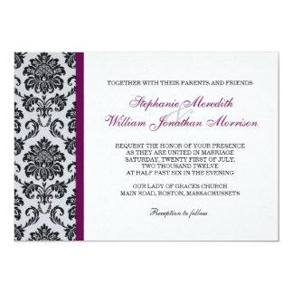 Plum Damask Monogram Wedding Invitation