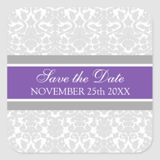 Plum Damask Save the Date Envelope Seal Square Stickers