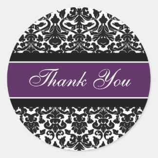 Plum Damask Thank You Wedding Envelope Seals Round Sticker