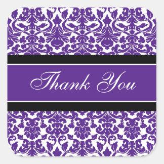 Plum Damask Thank You Wedding Envelope Seals Square Sticker