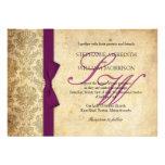 Plum Damask Vintage Bow Wedding Invitation
