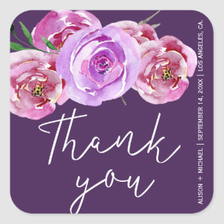 Plum dusty rose peonies wedding  thank you script square sticker
