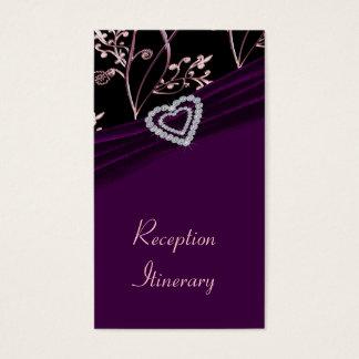 Plum Elegance Heart Floral Swirls Business Card