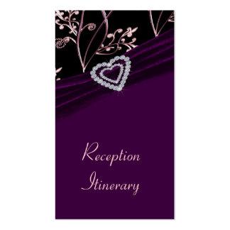 Plum Elegance Heart Floral Swirls Business Cards