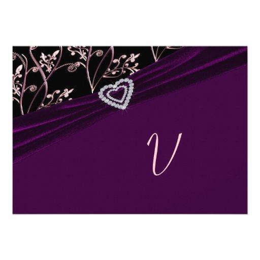 Plum Elegance Heart Floral Swirls Personalized Invitation