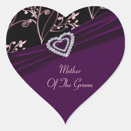 Plum Elegance Heart Floral Swirls Heart Sticker