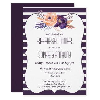 Plum Floral Wedding Rehearsal Dinner Invitation