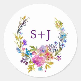 Plum Floral Wreath Monogram Wedding Envelope Seals