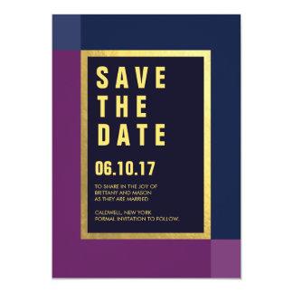 Plum + Gold Foil Save the Dates | Weddings 13 Cm X 18 Cm Invitation Card