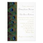 Plum, Gold Peacock Feathers Wedding Invitation