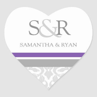 Plum Gray Damask Monogram Envelope Seal Heart Sticker