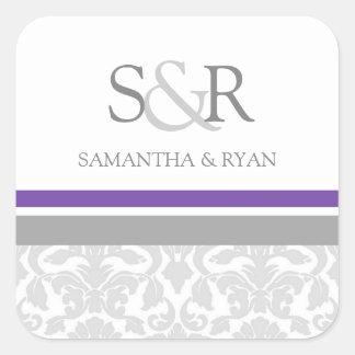 Plum Gray Damask Monogram Envelope Seal Square Sticker