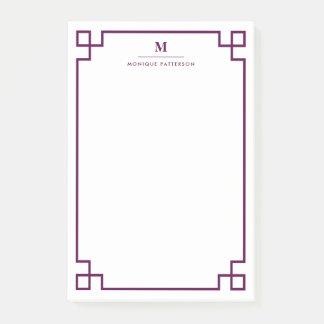 Plum Greek Key Border Monogram Personalized Post-it Notes