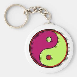 Plum Green Windblown Yin Yang Basic Round Button Key Ring