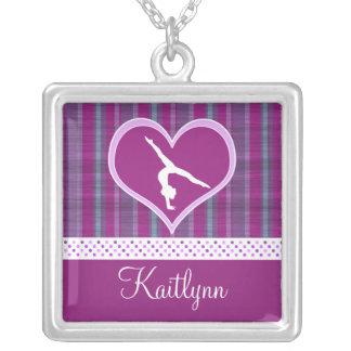 Plum Heart w/ Aqua Stripes and Polka-Dots Gymnast Square Pendant Necklace