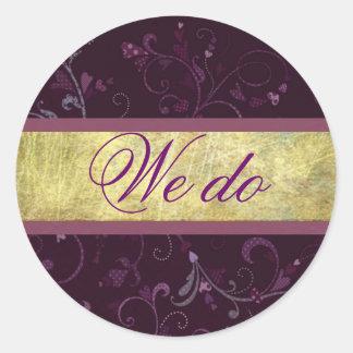 Plum Hearts Wedding Vows Sticker/Seal Round Sticker