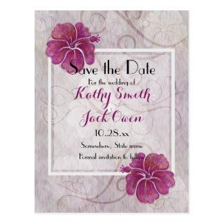 Plum hibiscus save the date postcard