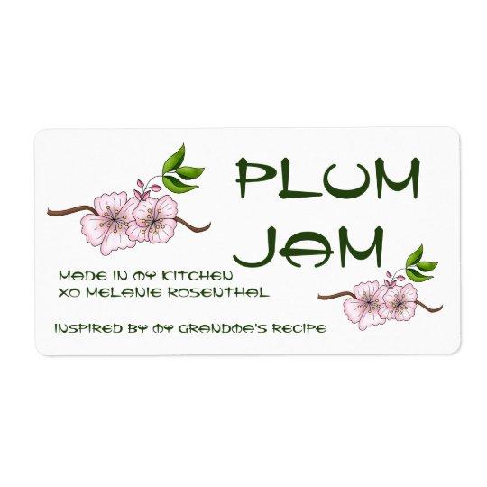 Plum Jam Jar Label (Customise) Shipping Label