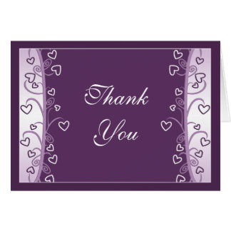 Plum Lavender Purple Hearts Wedding Thank You Card
